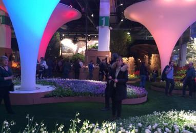 Stand Jardin Suisse an der Giardina 2016 mit Gemüsedegustation